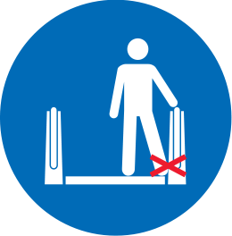 Crossed-out icon of a person kicking the side