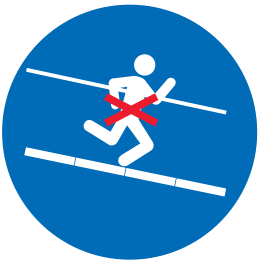 Crossed-out icon showing a person running on the stairs