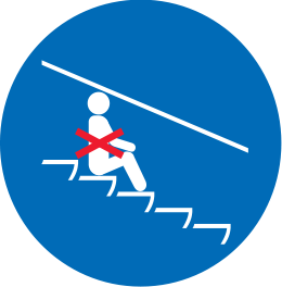 Crossed-out icon showing a person sitting on the stairs