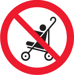 No prams allowed sign