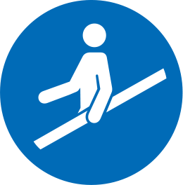 Icon of a person holding the handrail