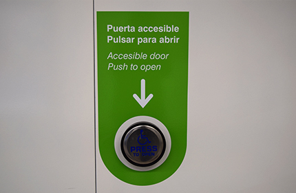 Green button for entrance doors