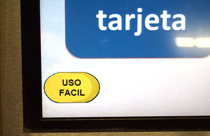 User-friendly button on the displays of the machines for topping up