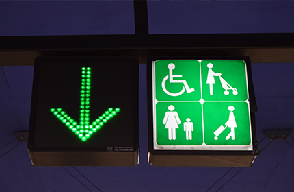 Icons above the gates indicating wheelchair and pram access