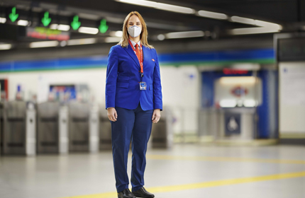 Metro station staff in uniform