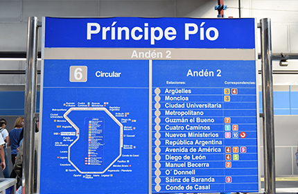Information indicating the direction to the lines with a list of stations