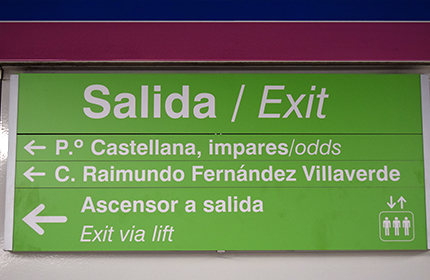 Sign indicating the exit direction
