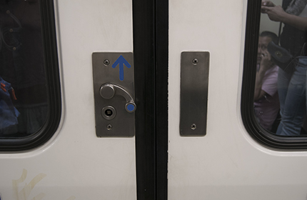 Button for a carriage door handle