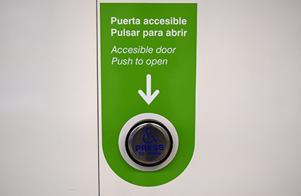 Green accessible gate button