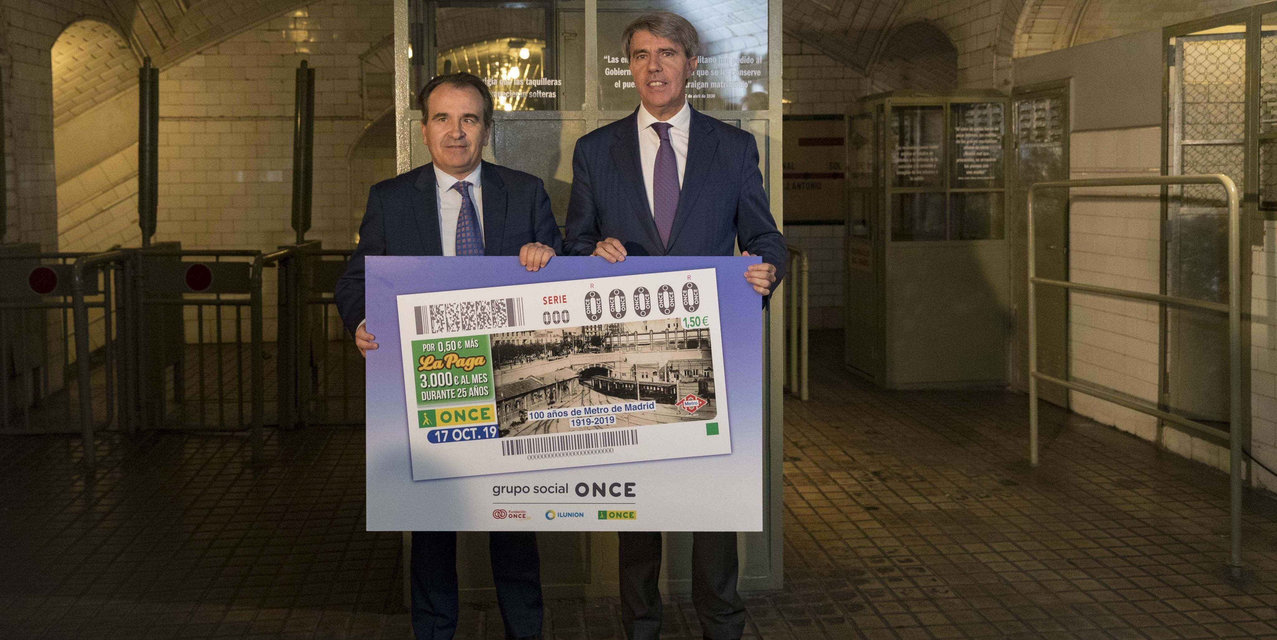 Presentation of the ONCE coupon, commemorating the centenary of Metro de Madrid