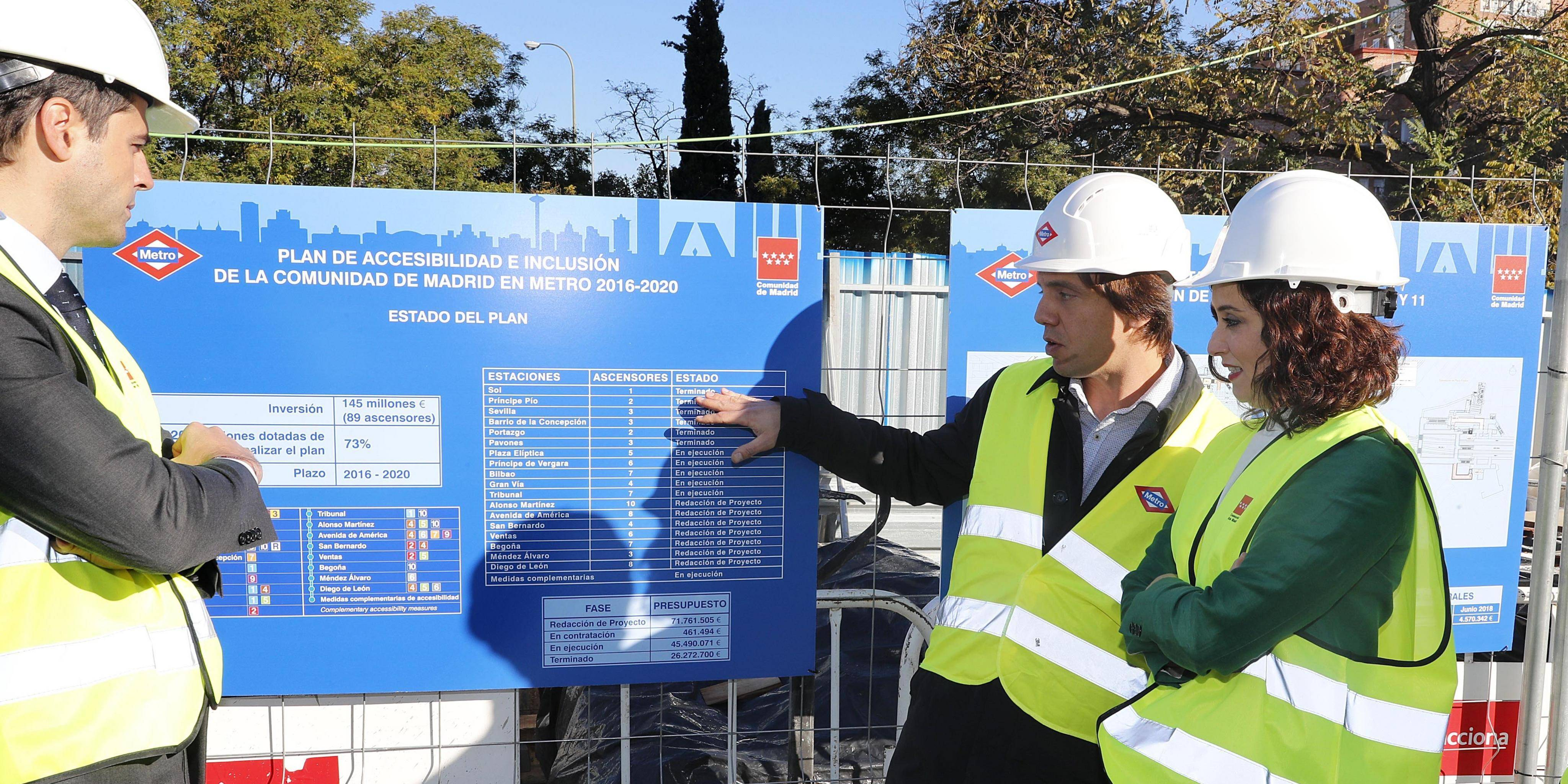 Visit to the works to install five lifts at Plaza Elíptica station