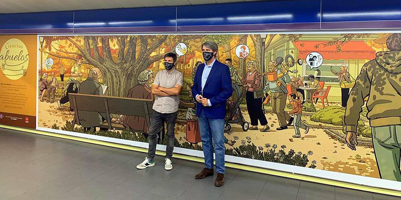 Mural by Paco Roca at the Plaza de Castilla Metro station