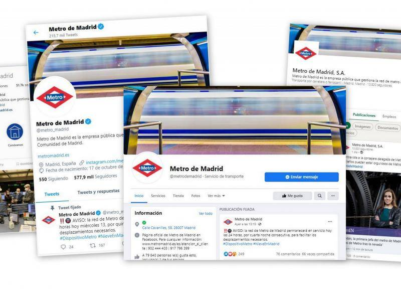 Images of Metro's social media accounts: Twitter, Instagram, Facebook, LinkedIn and YouTube