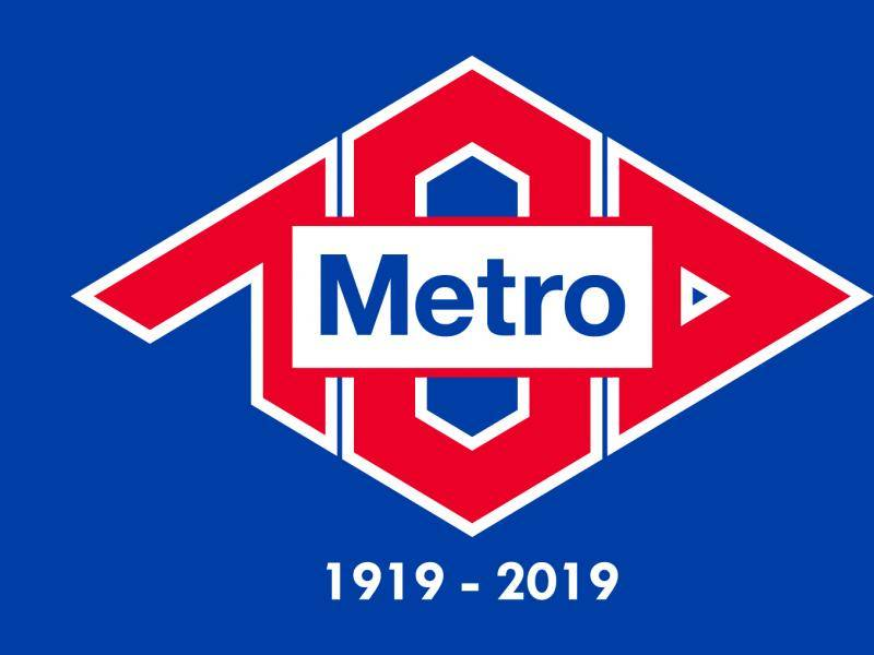 Centenary Logo of Madrid Metro. Colored background
